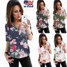 Casual Women's V-Neck Zipper Floral Chiffon Shirt Ladies Long Sleeve Tops Blouse
