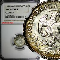 Mexico FIRST REPUBLIC Silver 1859/8 MO FH 1/2 Real OVERDATE NGC UNC DET.KM#370.9