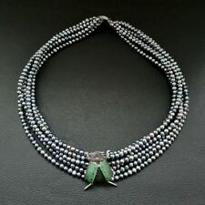 """M012915 19"""" 6 Strands Black PearlNecklace CZ Pave Beetle Connector"""