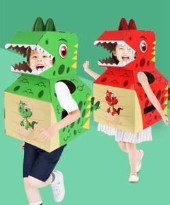 DIY 3D Dinosaur Animal Puzzle, Kids PaperCraft Building Kit, Cardboard Costume