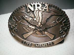 NRA LIFE MEMBER 1985 COLLECTOR'S EDIT. SOLID BRASS BUCKLE ~ THE NORMAN FOUNDRY
