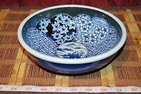 """Vintage Asian Decorative Porcelain Blue & White Bowl Signed 8""""x2 1/2"""""""