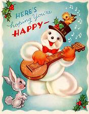 Vintage Christmas Card: Snowman Playing Banjo with Rabbit