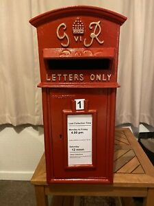 GR VI Postbox Letter Post Box - Cast Iron Post Office Red - Large - Base Mount