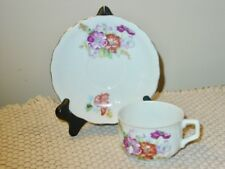 Vintage Occupied Japan Tea Cup & Saucer WWII Era Floral Hand Painted