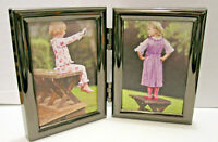 NEW Black Hinged Double Metal 2.5x3.5 Picture Frame Tabletop or Wall Hang