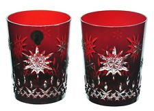 Waterford Crystal 2011 Ruby Red Snowflake Wishes Joy DOF Whiskey Glass Pair New