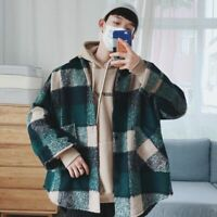 Plaid Shirt For Men Fashion Casual Loose Wool Jacket Coat Street Wear Flannel