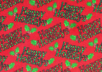 FAT QUARTER  CHRISTMAS  HAPPY HOLIDAYS COTTON QUILTING FABRIC HOLLY BERRIES  FQ