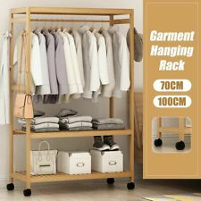 Standing Clothes Hanging Shelf Storage Bamboo  Garment Closet Rack With Wheels