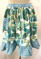 Lenox half apron blue white green yellow leaves 12 x 17 inches floral