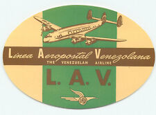 VENEZUELA LAV LINEA AEROPOSTAL VENEZOLANA VINTAGE CONSTELLATION AIRLINE LABEL