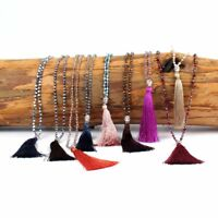Ethnic Silver Plated Tassel Buddha Long Chain Women Jewelry Pendant Necklace