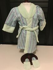HOMEMADE Striped Robe Tie and Slippers Made to Fit American Girl Dolls