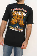 NISMO I Walked all over London Boot Souvenir Vintage 80s Black  T-shirt Cotton M