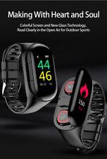 Damen Herren M1 Smartwatch Bluetooth-Kopfhörer-Herzfrequenzmesser-iPhone,Android