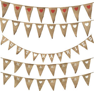 Bunting Fabric Wedding Hessian Valentines Day Flag Love Heart Vintage Mr And Mrs