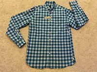 NWT J CREW Men's Long Sleeve Button Down SHIRT Size L Tall  Teal & Gray  C21