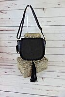 NEW INC International Concepts Willow Crossbody Saddle Bag Tassel $69 Black