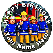 """FIREMAN SAM BIRTHDAY PARTY - 7.5"""" PERSONALISED ROUND EDIBLE ICING CAKE TOPPER 2"""