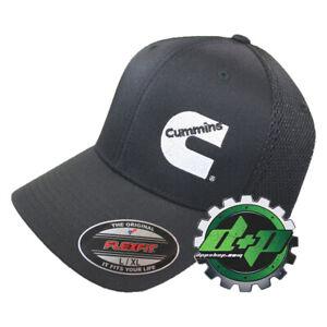Dodge Cummins truckers air mesh back summer hat black cap fitted flex fit l/xl