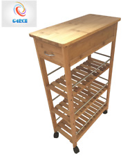 4 Tier Slim Portable Natural Bamboo Wood Kitchen Trolley Organiser Basket Shelf