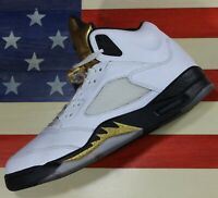 Nike Air Jordan V 5 Retro Olympic White/Black Gold Shoe 2016 [136027-133] sz 11