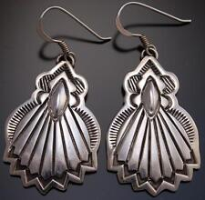 All Silver Stamped Fan Earrings by Erick Begay - AJ13L