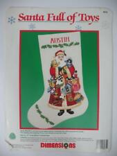 "Vintage DIMENSIONS Crewel Christmas Stocking KIT ""Santa Full of Toys"" #8075"
