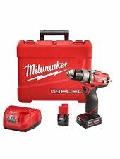 "Milwaukee 1/2"" Hammer Drill/Driver Kit ~ 12V ~ New ~ Free Shipping 2404-22"