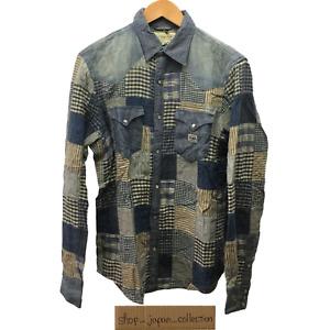 Denim & Supply Ralph Lauren Patchwork Western Shirt Navy Cotton Size M