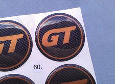 (gt60co) 4x GT emblemi COPRIMOZZO PER CERCHIONI COPERCHIO 60mm in Silicone Adesivo