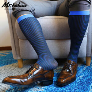HOT NEW 1Pair Men's Colorful Striped OTC Dress Sheer Formal Silk Socks 0090