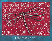 Original ACEO - Dragonfly - miniature acrylic painting, not framed