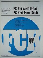 Programm 1981/82 FC Karl Marx Stadt - RW Erfurt