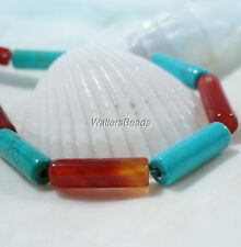 "Natural Carnelian & Turquoise Gemstone Tube Bead Lot 13 x 4 MM (15"")"