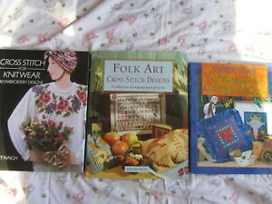 BULK BUY #6, 3 Hard Cover Cross Stitch Books, Whimsical, Folk Art, Knitwear