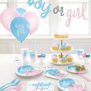 Gender Reveal Baby Shower Party Supplies Tableware Balloons Decorations Boy Girl