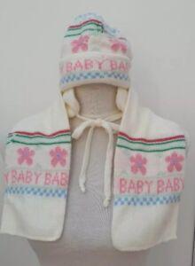 Adams Baby Girls Hat Scarf Set One Size Cream Pink Blue Floral Beanie Warm Wear