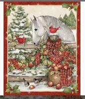 Christmas Season of Joy Horse Bow 100% cotton fabric by the panel/yard 36 x 44