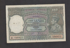 100 RUPEES VF- FINE BANKNOTE FROM BRITISH INDIA/MADRAS ISSUE 1937 PICK-20n RARE