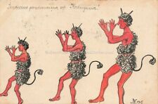 Ak Handgemalt Krampus 3 tanzende Fabelwesen an Ritter v. Bogucki um 1910