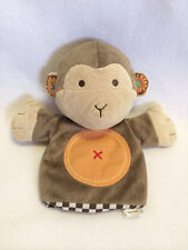 Carters Plush Crinkle Ear Monkey Hand Puppet Brown Orange Circle Tummy 9""