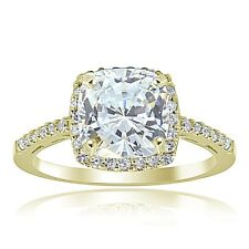 Gold Tone over Sterling Silver Cubic Zirconia Cushion-cut Bridal Engagement Ring