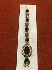Indian Gold Maroon Green Hair Accessory T1 Maang Matha Passa Tikka Bollywood