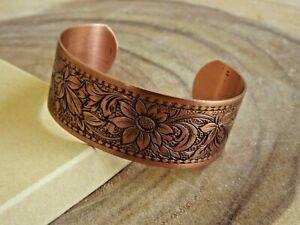 Pure Copper Daisy Design Adjustable Cuff Bracelet Arthritis Relief Bracelet