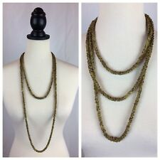 "Seed Beads Draped Necklace Euc Signed 27-31"" Long Chicos Gold & Tan Braided"