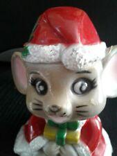 Vintage Set 4 Christmas Stocking Holder Plastic ELF MICE BEAR
