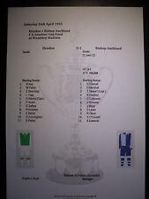1955 fa Amateur CUP FINAL Hendon V Bishop Auckland matchsheet
