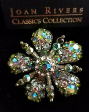 Joan Rivers Large Green and Clear Crystal Star Flower Pin Brooch in Box Rare